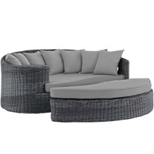 Summon Outdoor Patio Sunbrella® Daybed, Sunbrella Rattan Wicker, Grey Gray 13452