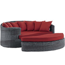 Summon Outdoor Patio Sunbrella® Daybed, Sunbrella Rattan Wicker, Red 13453