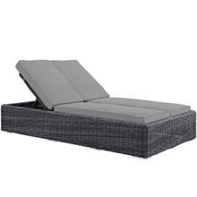 Summon Double Outdoor Patio Sunbrella® Chaise, Sunbrella Rattan Wicker, Grey Gray 13454