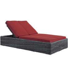 Summon Double Outdoor Patio Sunbrella® Chaise, Sunbrella Rattan Wicker, Red 13455