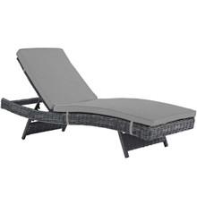 Summon Outdoor Patio Sunbrella® Chaise, Sunbrella Rattan Wicker, Grey Gray 13456