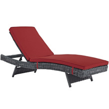 Summon Outdoor Patio Sunbrella® Chaise, Sunbrella Rattan Wicker, Red 13457