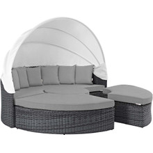 Summon Canopy Outdoor Patio Sunbrella® Daybed, Sunbrella Rattan Wicker, Grey Gray 13458