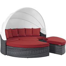 Summon Canopy Outdoor Patio Sunbrella® Daybed, Sunbrella Rattan Wicker, Red 13459