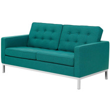 Loft Upholstered Fabric Loveseat, Fabric, Aqua Blue 13471