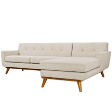 Engage Left-Facing Sectional Sofa, Fabric, Beige 13474