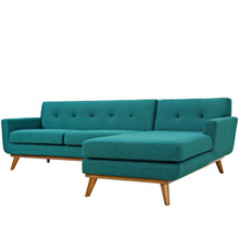 Engage Left-Facing Sectional Sofa, Fabric, Aqua Blue 13475
