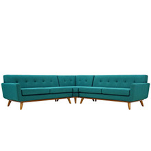 Engage L-Shaped Sectional Sofa, Fabric, Aqua Blue 13477