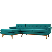Engage Right-Facing Sectional Sofa, Fabric, Aqua Blue 13479