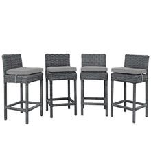 Summon Bar Stool Outdoor Patio Sunbrella® Set of 4, Sunbrella Rattan Wicker, Grey Gray 13500