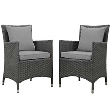 Sojourn 2 Piece Outdoor Patio Sunbrella® Dining Set, Sunbrella Rattan Wicker, Grey Gray 13502