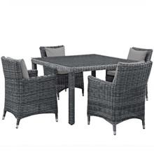 Summon 5 Piece Outdoor Patio Sunbrella® Dining Set, Sunbrella Rattan Wicker, Grey Gray 13528
