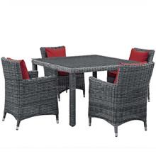 Summon 5 Piece Outdoor Patio Sunbrella® Dining Set, Sunbrella Rattan Wicker, Red 13529