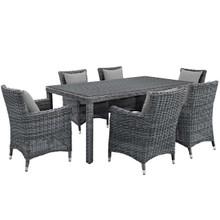 Summon 7 Piece Outdoor Patio Sunbrella® Dining Set, Sunbrella Rattan Wicker, Grey Gray 13534