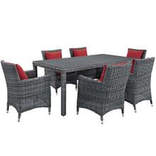 Summon 7 Piece Outdoor Patio Sunbrella® Dining Set, Sunbrella Rattan Wicker, Red 13535