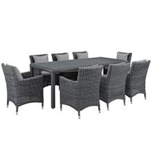 Summon 9 Piece Outdoor Patio Sunbrella® Dining Set, Sunbrella Rattan Wicker, Grey Gray 13536