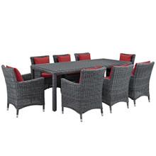 Summon 9 Piece Outdoor Patio Sunbrella® Dining Set, Sunbrella Rattan Wicker, Red 13537