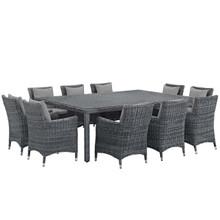 Summon 11 Piece Outdoor Patio Sunbrella® Dining Set, Sunbrella Rattan Wicker, Grey Gray 13540