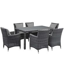 Summon 7 Piece Outdoor Patio Sunbrella® Dining Set, Sunbrella Rattan Wicker, Grey Gray 13542