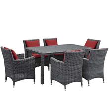 Summon 7 Piece Outdoor Patio Sunbrella® Dining Set, Sunbrella Rattan Wicker, Red 13543