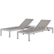 Shore 3 Piece Outdoor Patio Aluminum Set, Aluminum Metal Steel, Grey Gray 13555