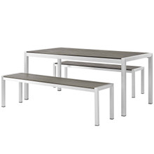Shore 3 Piece Outdoor Patio Aluminum Dining Set, Aluminum Metal Steel, Grey Gray 13557