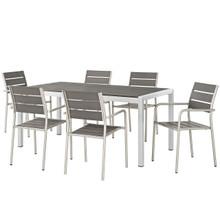 Shore 7 Piece Outdoor Patio Aluminum Dining Set, Aluminum Metal Steel, Grey Gray 13558
