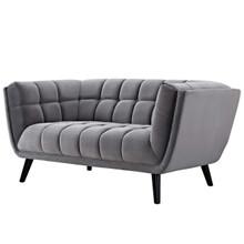 Bestow Velvet Loveseat, Velvet Fabric, Grey Gray 13571