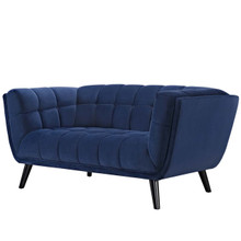 Bestow Velvet Loveseat, Velvet Fabric, Navy Blue 13572