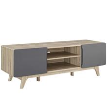 "Tread 59"" TV Stand, Wood, Grey Gray Natural 13578"
