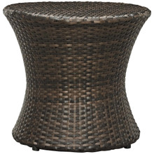 Stage Round Outdoor Patio Side Table, Rattan Wicker, Brown 13581