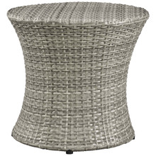 Stage Round Outdoor Patio Side Table, Rattan Wicker, Light Grey Gray 13582