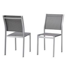 Shore Side Chair Outdoor Patio Aluminum Set of 2, Aluminum Metal Steel, Grey Gray 13592