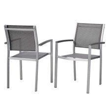 Shore Dining Chair Outdoor Patio Aluminum Set of 2, Aluminum Metal Steel, Grey Gray 13593