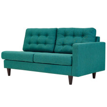 Empress Left-Facing Upholstered Fabric Loveseat, Fabric, Aqua Blue 13595