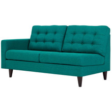 Empress Right-Facing Upholstered Fabric Loveseat, Fabric, Aqua Blue 13597
