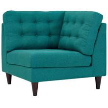 Empress Upholstered Fabric Corner Sofa, Fabric, Aqua Blue 13605