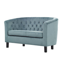 Prospect Velvet Loveseat, Velvet Fabric, Blue 13606