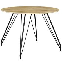 Satellite Circular Dining Table, Wood Metal Steel, Natural 13611