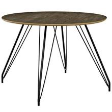 Satellite Circular Dining Table, Wood Metal Steel, Brown 13612