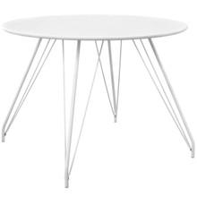 Satellite Circular Dining Table, Wood Metal Steel, White 13620