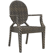 Casper Dining Outdoor Patio Armchair, Rattan Wicker, Brown 13634