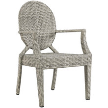 Casper Dining Outdoor Patio Armchair, Rattan Wicker, Light Grey Gray 13635