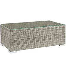 Repose Outdoor Patio Coffee Table, Sunbrella Rattan Wicker Glass, Light Grey Gray 13636