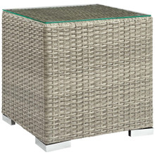 Repose Outdoor Patio Side Table, Sunbrella Rattan Wicker Glass, Light Grey Gray 13637