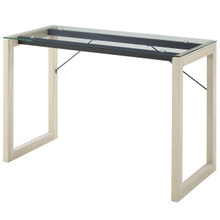 Medley Glass Top Writing Desk, Wood Glass, Clear Natural 13664
