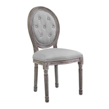 Arise Vintage French Upholstered Fabric Dining Side Chair, Fabric, Light Grey Gray 13671
