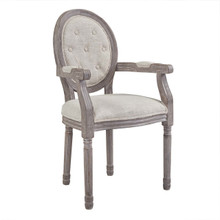 Arise Vintage French Upholstered Fabric Dining Armchair, Fabric, Beige 13672