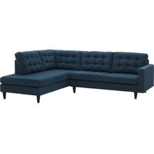 Empress 2 Piece Upholstered Fabric Right Facing Bumper Sectional, Fabric, Navy Blue 13674