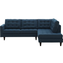 Empress 2 Piece Upholstered Fabric Left Facing Bumper Sectional, Fabric, Navy Blue 13679
